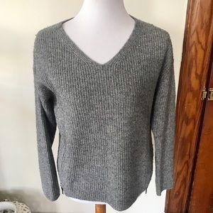 Eileen Fisher Wool Yak Gray Side Zipper Sweater